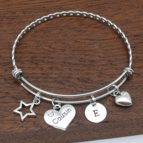 Cousin Heart Personalised Charm Initial Bracelet Gift